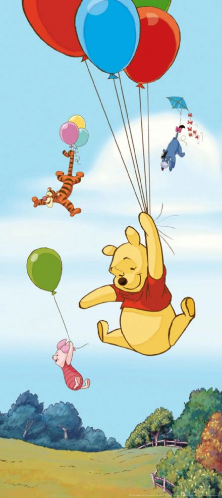 Winnie The Pooh flying mural wallpaper 90x202cm